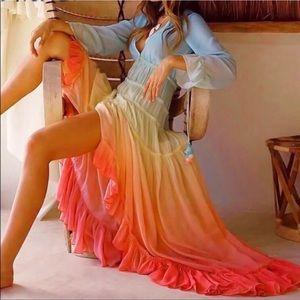 💫Last One💫 Rainbow ombré ruffle midi dress